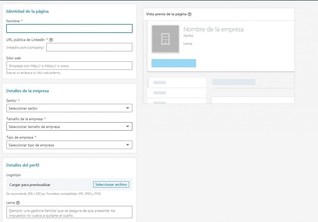 paso 3 para crear empresa en linkedin