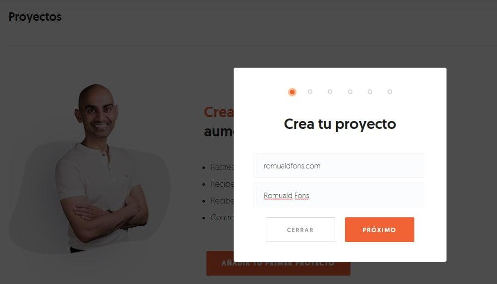 crear un proyecto en Ubersuggest