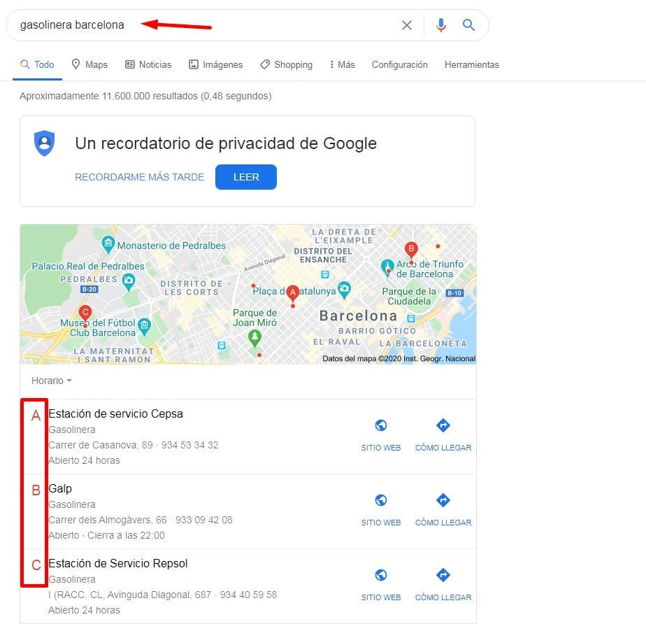 abc pack en Google para SEO local