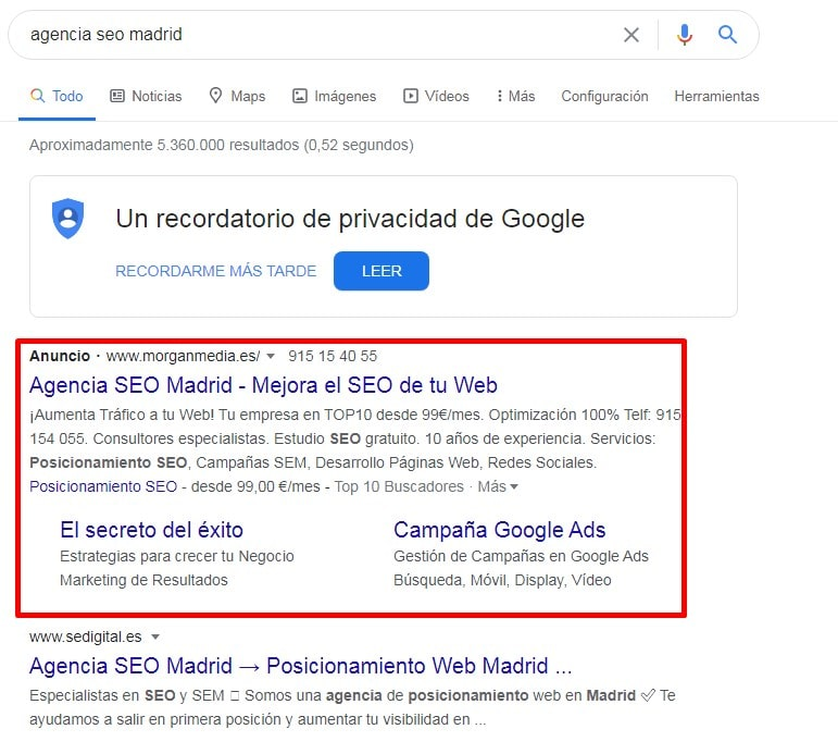 anuncios Google Ads para SEO LOCAL