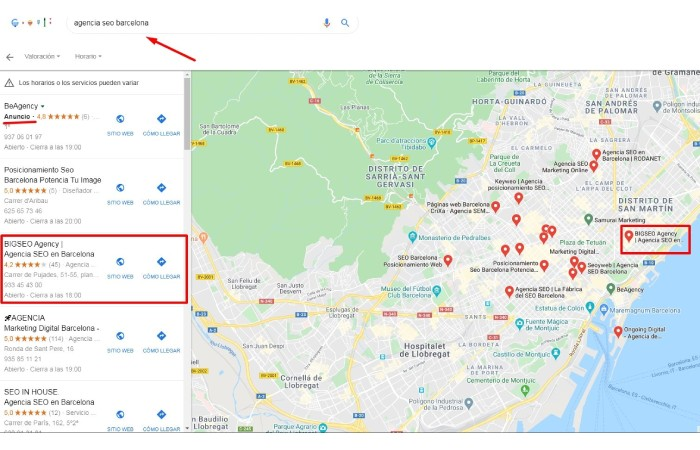 mapa local finder de Google con resultados