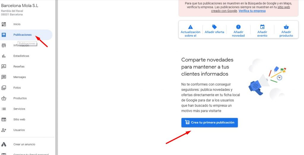 cómo publicar en google my business